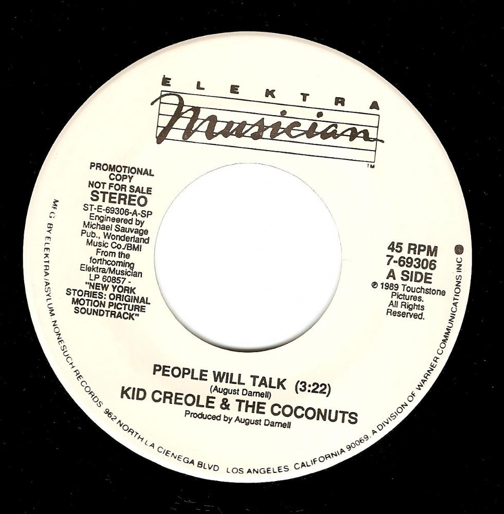 KID CREOLE AND THE COCONUTS People Will Talk Vinyl Record 7 Inch US Elektra Musician 1989 Promo